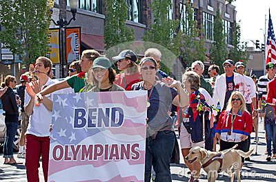 Former Olympians In Homecoming Parade for Olympian Editorial Photography