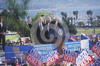 Former President Bill Clinton welcomes crowd Editorial Stock Photo