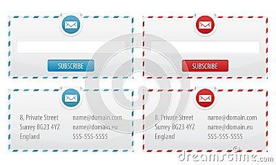 Formes de bulletin d information et drapeaux de contact