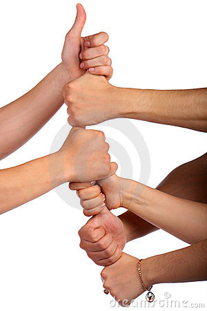 Forming a team. Fists in chain. Isolated