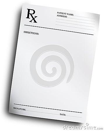 Formulário da prescrição de RX