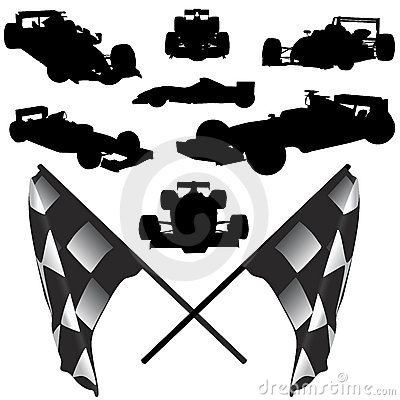 Formula Car And Flag Vector Stock Photo - Image: 5439300