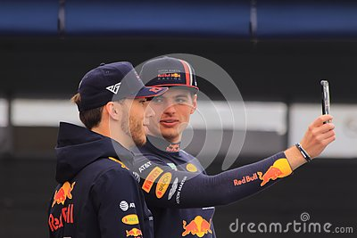 Formula 1 drivers Max Verstappen and Pierre Gasly taking selfie