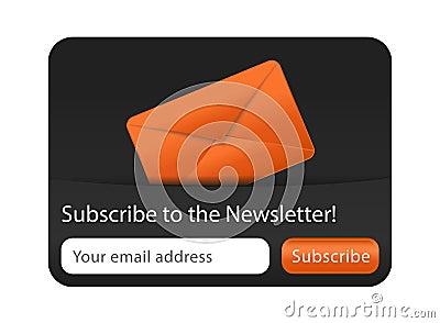 Formulário do boletim de notícias com envelope alaranjado
