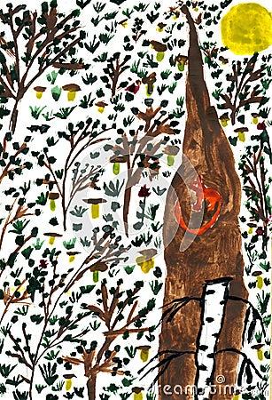 Forêt avec des champignons de couche