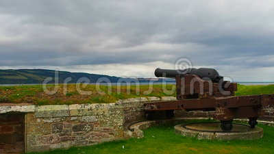 Fort George, Inverness, United Kingdom – 20 august 2017: cannon on Fort George`s walls. Fort George is a military structure built by the British after a stock video