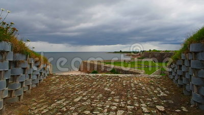 Fort George, Inverness, United Kingdom – 20 august 2017: Observation point toward the Fort George Sea. Fort George is a military structure built by the stock footage