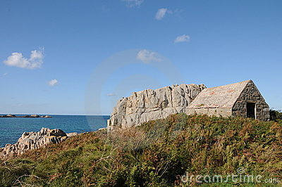 Fort le Marchant above L'Ancresse Bay, Guernsey