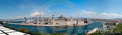 Fort Saint-Jean and old port in Marseille Editorial Photography