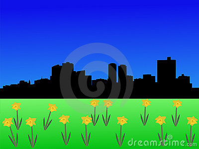 Fort Worth Skyline in spring