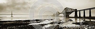 Forth Bridges Monochrome Panor
