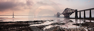 Forth Bridges Panorama Sunset
