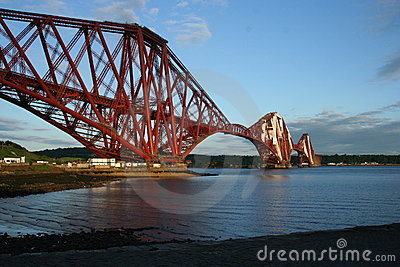 Forth Rail Bridge with Clear Blue Sky and Clouds