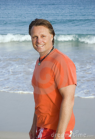 Forties man on beach