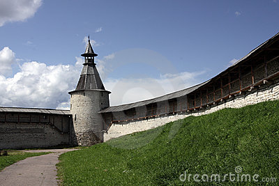 Fortifications and viewing tower and sky