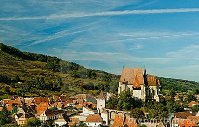 Fortified church in transylvanian village