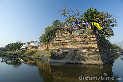 The fortified walls of Chiang Mai, Thailand