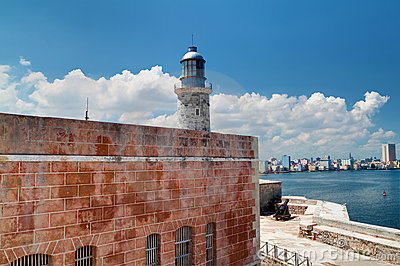 The fortress of El Morro in Havana, Cuba with the