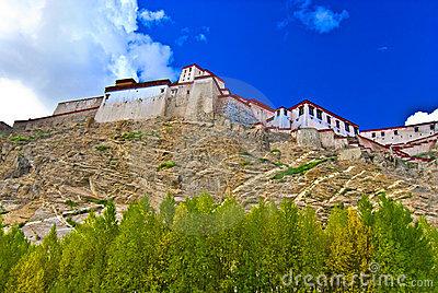 Fortress on Tibetan hillside