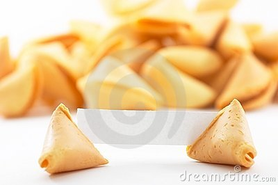 Fortune cookies with white blank paper, shallow depth of field