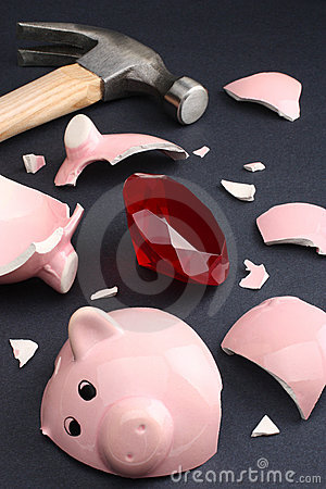 Fortune in a piggy bank business & finance concept