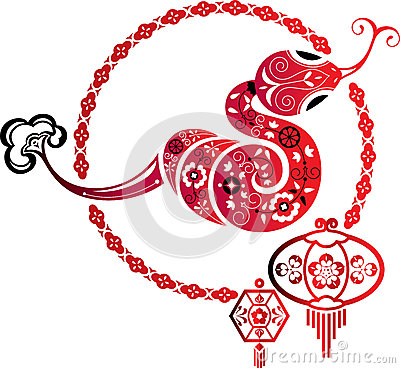 Fortune Snake and Chinese lantern graphic element