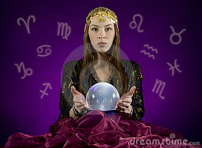 Fortune TEller And Crystal Ball Royalty Free Stock Image - Image ...