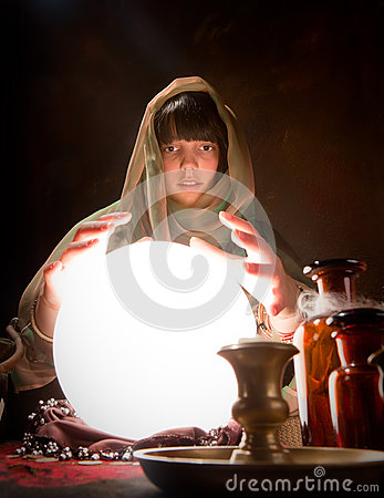 Free Fortune Telling With A Crystal Ball Royalty Free Stock Images - 58886589