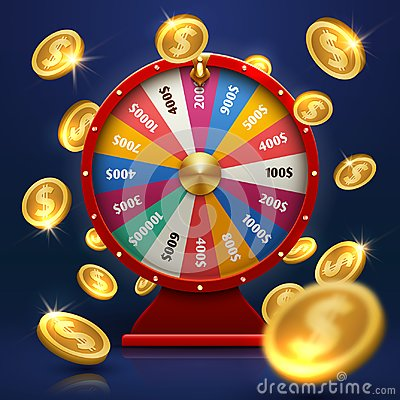Free Fortune Wheel And Gold Coins. Lucky Chance In Game Vector Background Royalty Free Stock Image - 112519856