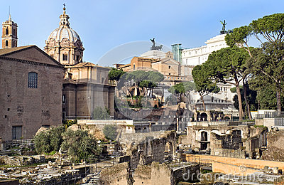 Forum Romano and view on Capitol Hill, Rome, Italy
