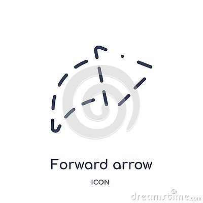 forward arrow with broken icon from user interface outline collection. Thin line forward arrow with broken icon isolated on white Vector Illustration