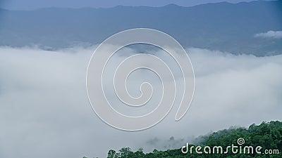 Foschia alta di fine di lasso di tempo che si sposta per montagna verde stock footage