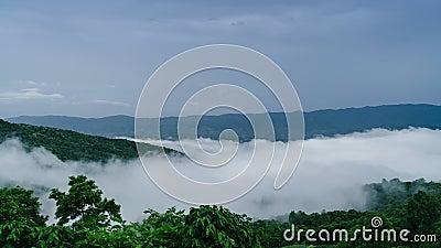 Foschia di lasso di tempo che si sposta per la montagna verde stock footage