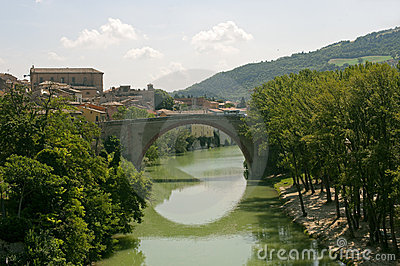 Fossombrone (Marches, Italy) - Bridge and river