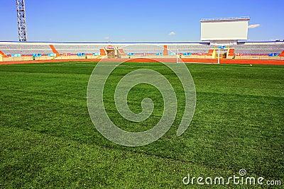 Fotball soccer stadium on blue sky