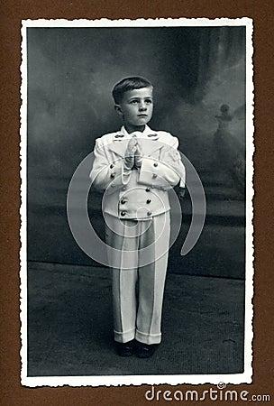 Foto antigua de la original 1942 - primera comunión