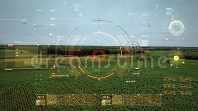 Foto di drone con vista aerea volante con interfaccia utente con barra del grafico del testo e elemento puntatore di destinazione video d archivio