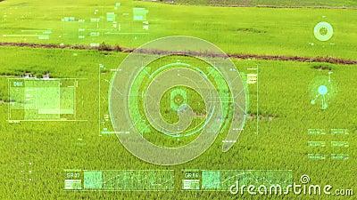 Foto di drone con vista aerea volante con interfaccia utente con barra del grafico del testo e elemento puntatore di destinazione royalty illustrazione gratis
