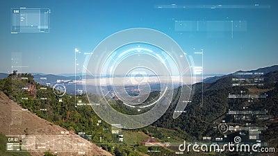 Foto di drone con vista aerea volante con interfaccia utente con barra del grafico del testo e elemento puntatore di destinazione archivi video