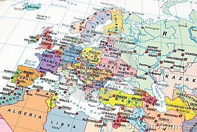 Foto van een kaart van Europa
