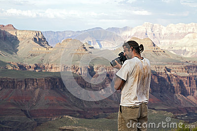 Fotograf, der Grand Canyon schießt