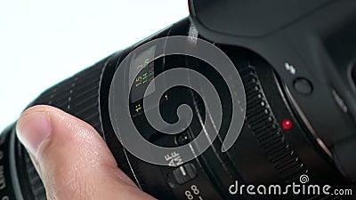 Fotolens - de Hand past Nadrukring aan stock videobeelden