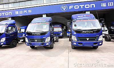 Foton light trucks warehouse Editorial Stock Image