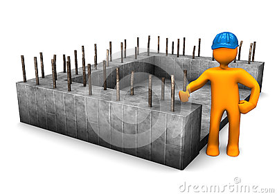 Civil engineer with the foundation of house.