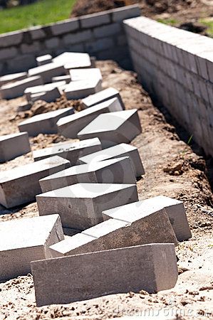 Free Foundation Wall Cement Bricks Royalty Free Stock Image - 19457996