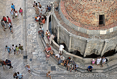 By the fountain in Dubrovnik , Croatia Editorial Image