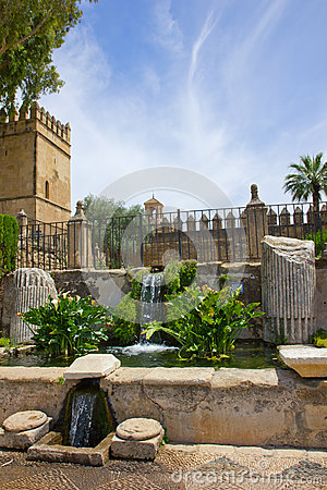 Fountain at the Alcazar gardens, Cordoba, Spain