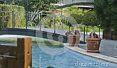Fountain with bridge