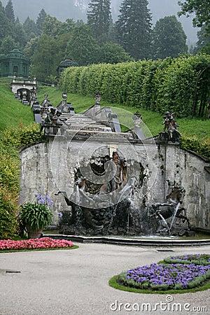 Fountain cascade on the park Linderhof Palace