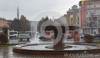 Fountain in the center of Kemerovo city